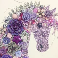 Vintage Jewelry Art Unicorn button art and mixed media plus postage ( extra for professional framing if required) - Unicorn Crafts, Unicorn Art, Vintage Jewelry Crafts, Jewelry Art, Jewellery, Button Art, Button Crafts, Sequin Crafts, Button Picture