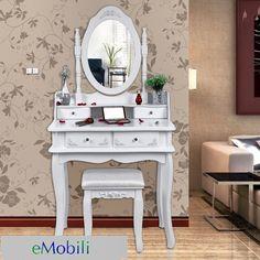 SEA122 http://www.emobili.ro/cumpara/sea122-set-masa-alba-toaleta-cosmetica-machiaj-oglinda-masuta-vanity-218 #eMobili