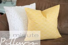 How to sew a pillow in 20 minutes from iheartnaptime.net . Anyone with a sewing machine can make these!