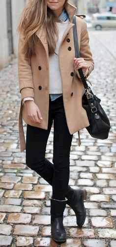 Pea coat, sweater over collared shirt, jeans, short boots, crossbody/shoulder bag