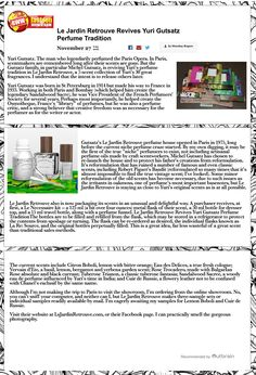 November 2016 / BWW Fashion World : Le Jardin Retrouve Revives Yuri Gutsatz Perfume Tradition