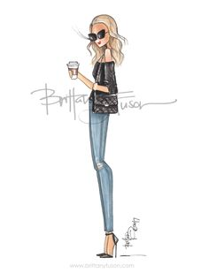 fall trends | off the shoulder | distressed jeans | thompson hotel | but first, coffee | fashion illustration | Brittany Fuson