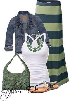 skirt tank top striped skirt necklace blue skirt mint green skirt denim jacket purse flat sandals