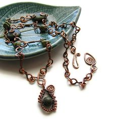 Russian Serpentine Statement Necklace Hand Forged Rustic Copper Wire Wrapped -Moss.