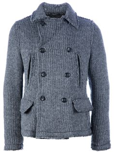 Double-breasted knit coat Review Buy Now