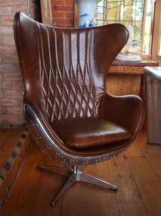 Aviation Aviator Brown Leather & Aluminium Chair - Aeroplane - Stunning in Antiques, Antique Furniture, Chairs | eBay