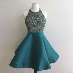 A-line Halter Beaded Bodice Satin Peacock Homecoming Dresses,Short Prom Gowns,apd2545