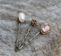 Vintage Gold Hair Pin SetPearl CameoRose by Gener8tionsCre8tions, $65.00