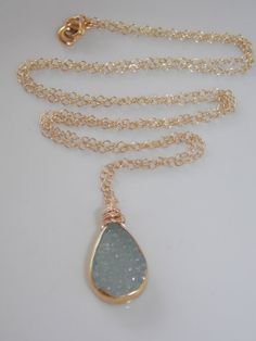 SALE Aqua Blue Druzy Necklace on a 24 inch Gold by MalieCreations, $50.00