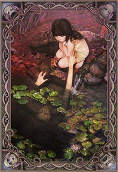 """""""The Pond"""" - Annie Stegg, color pencil and marker on bristol board, 2009 {figurative #surreal art beautiful female duality reflection reaching from water young woman drawing} anniestegg.com"""