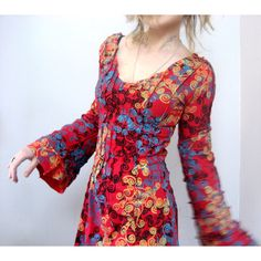 Summer Red Jersey Dress Bell Sleeve Dress Hand Printed Dress Bohemian... ($165) ❤ liked on Polyvore