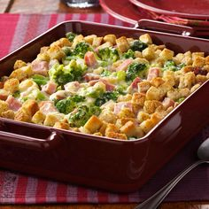 "Broccoli Ham Bake Recipe -Looking for a family-pleasing way to use up extra ham? Try this quick casserole that even will satisfy folks not fond of broccoli. ""Our minister's wife served this and was kind enough to share the recipe,"" recalls Helen Phillips of Greensburg, Indiana. ""It's very good."" TIP: Feel free to replace the stuffing croutons with crushed stuffing mix."