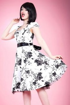 White Cotton Vintage Dress with Black Floral Print
