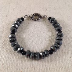 Men's Black Pyrite Bracelet. by NOMADSTRADE on Etsy