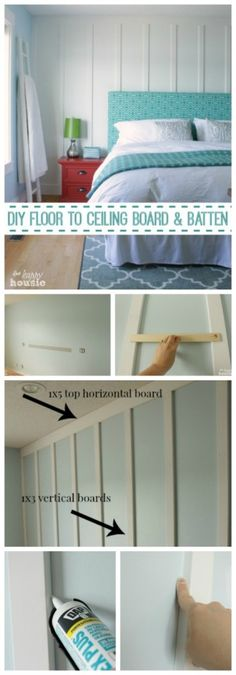 Floor to Ceiling Board & Batten DIY Floor to Ceiling Board and Batten how to tutorial at The Happy HousieDIY Floor to Ceiling Board and Batten how to tutorial at The Happy Housie Home Renovation, Home Remodeling, Bathroom Renovations, Farmhouse Trim, Diy Bathroom, Design Bathroom, Kitchen Design, Ideas Hogar, Board And Batten