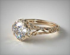 52800 engagement rings, vintage, 18k yellow gold diamond filigree engagement ring item - Mobile