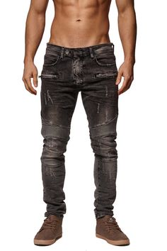Slim Fit Washed Black Biker Distressed Jeans PLEASE NOTE THE LENGTH IS 33 (FOR ALL WAIST SIZES) size : W x L (Waist x Length) -100% Cotton -Zipper Fly -SLIM FIT