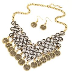 Vintage Coin Statement Jewelry Set, earring & necklace, Zinc Alloy, with Rhinestone, with 5cm extender chain, Flat Round, antique gold color plated, twist oval chain, lead & cadmium free