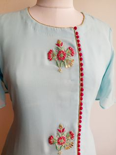 "Powder Blue Kurta with Gota Patti bootas and Front slit combined here with Fuschia Pink Lycra Skirt which you can Select from the ""Lowers"" Collection Embroidery On Kurtis, Kurti Embroidery Design, Hand Embroidery Designs, Embroidery Dress, Embroidery Jewelry, Salwar Kameez Neck Designs, Kurta Neck Design, Salwar Designs, Neck Design For Kurtis"