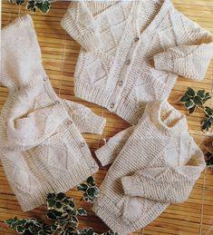PDF Digital Knitting Pattern Baby Childrens Aran Sweater Cardigan Jacket with Hood 20-28 Aran
