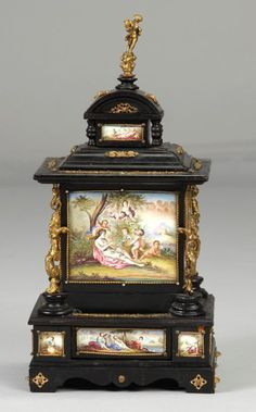 Jewelry Cabinet, Vanity Set, Silver Enamel, Decorative Boxes, Auction, Clock, Brass, Antiques, Interiors