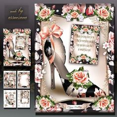 Peach Black Shoes with Roses Card Mini Kit on Craftsuprint designed by Atlic Snezana - Peach Black Shoes with Roses Card Mini Kit: 4 sheets for print with decoupage for 3D effect plus few sentiment tags (for your own personal text) - Now available for download!