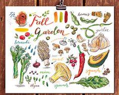 fall garden print. Autumn harvest. Food illustration. kitchen decor. rainbow. eat local. farmers market. seasonal vegetables. gardening. art...