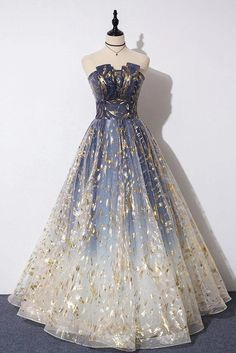 Buy Charming Blue Floral Print Tulle Strapless Long A Line Prom Dresses, Dance Dresses online.Shop short long ombre prom, homecoming, bridesmaid evening dresses at Couture Candy Cocktail party dresses, formal ball gowns in ombre colors. Pretty Prom Dresses, A Line Prom Dresses, Tulle Prom Dress, Dance Dresses, Elegant Dresses, Ball Gowns Prom, Ball Gowns Evening, Ball Gown Dresses, Sexy Dresses