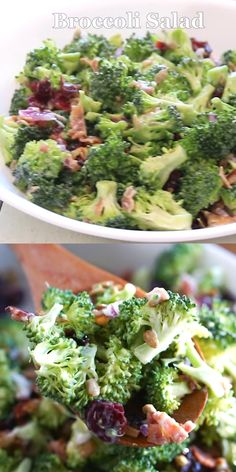 Broccoli Salad is our new favorite make ahead side dish! Simple ingredients tossed together for a tasty picnic or barbecue that is SOOOO good! #sidedish #vegetable #makeahead #broccoli #salad #broccolisalad #bacon #craisins #sunflowerseeds #picnic #barbecue #cookout #potluck #easy #recipe #numstheword
