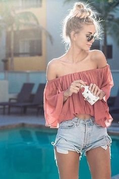 Off the shoulder top with high rise shorts is cute, simple, and sexy. Perfect summer wear. #ShopStyle #shopthelook #SpringStyle #SummerStyle #BeachVacation #WeekendLook #GirlsNightOut