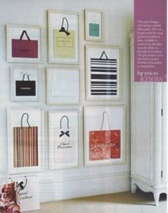Closet decor framed shopping bags