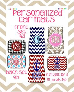 ON SALE Personalized Car Floor Mats FRONT by PolkaDotsNWhatnots, $65.00