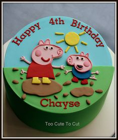 Peppa & George Pig 4th birthday cake www.facebook.com/toocutetocut 4th Birthday Cakes For Boys, Peppa Pig Birthday Cake, Birthday Party Snacks, Fiestas Peppa Pig, Cake By The Pound, Character Cakes, Novelty Cakes, Cupcakes, Cartoon Cakes