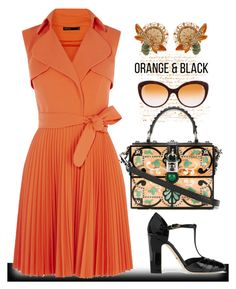 """Orange and Black"" by easy-dressing ❤ liked on Polyvore featuring Dolce&Gabbana, WhatToWear, wrapdress, polyvoreeditorial and orangeandblack"