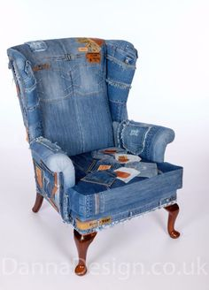 Jeans patchwork denim Wingback Armchair Parker Knoll sofa chair  Furniture