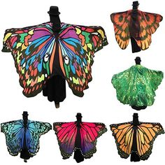 HOT SALE Fashion Women Butterfly Wing Cape Scarf Fairy Costume Shawl Ladies US