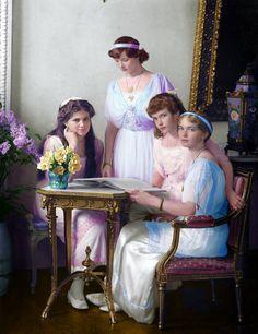 daughters of Emperor Nicholas II by AlixofHesse on DeviantArt European History, Women In History, Tatiana Romanov, Queen Victoria Descendants, Romanov Sisters, Familia Romanov, Princesa Real, Grand Duchess Olga, Female Superhero