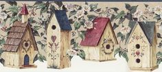 Birdhouses Wallpaper Border - BC1580440 from Design by Color/Blue book