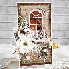 Xmas Cards Handmade, Christmas Greeting Cards, Christmas Greetings, Handmade Christmas, Cigar Box Projects, Old Christmas, Vintage Crafts, Card Making Inspiration, Winter Cards