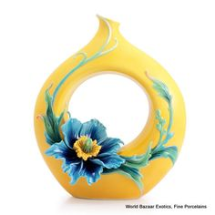 FZ02953 Blue poppy design mid size vase Franz Porcelain spectacular new 2012