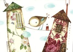 Bird and houses original watercolor painting by NanuGraphic, $67.00