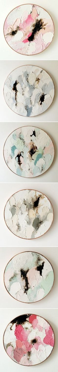 """Oooh, lovely oil paintings on wood by Australian artist Lisa Madigan … so much rich/thick paint, gorgeous color palettes, and some of the best titles I've heard in a long time: """"Kiss Kiss"""", """"Waterme"""