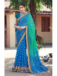Polished Bluie and Green Shaded Bandhej saree