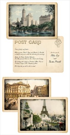 vintage post card save the dates by Royal Steamline