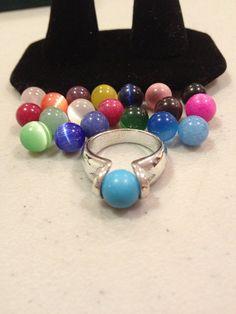 Interchangeable Sterling Ring SIZE 6.5 Silver Lapis Turquoise Amethyst Jade Rhodonite Carnelian Onyx Quartz Cat's Eye 925 Stones Jewelry on Etsy, $45.00