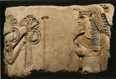 ❤ -  Egyptian limestone relief fragment, late Ptolemaic Period, circa 100-30 B.C.