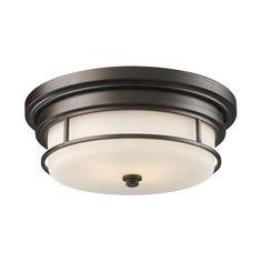 ELK Lighting 66254-2 Newfield Two-Light Flushmount Ceiling Fixture with Opal Etc Oiled Bronze Indoor Lighting Ceiling Fixtures Flush Mount
