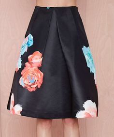 Look at this #zulilyfind! HaoDuoYi Black Floral A-Line Skirt by HaoDuoYi #zulilyfinds