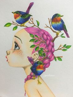 Don't know how drew this, but it's amazing. Colorful Drawings, Colorful Pictures, Cute Drawings, Illustrations, Illustration Art, Digital Art Girl, Arte Pop, Whimsical Art, Cartoon Styles