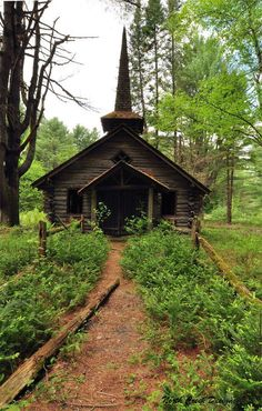 . . . Abandoned little churches nestled among the trees in the country.